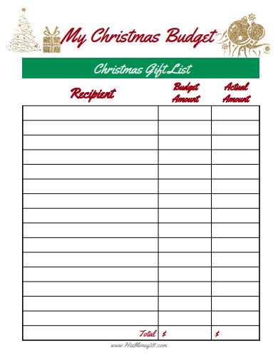 christmas budget in pdf