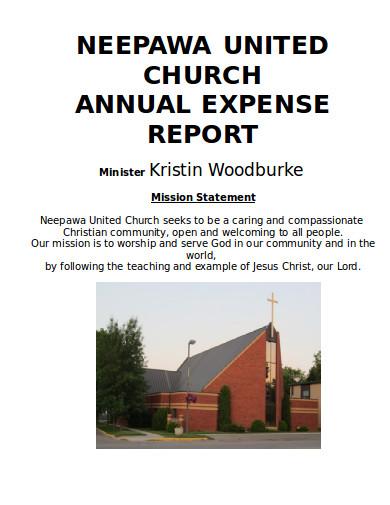 church annual expense report