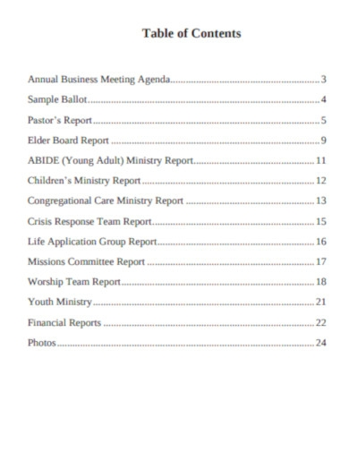 church annual meeting reports