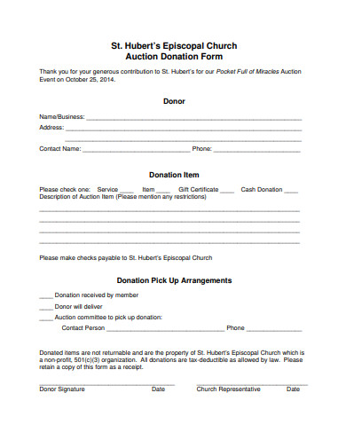 church auction donation form