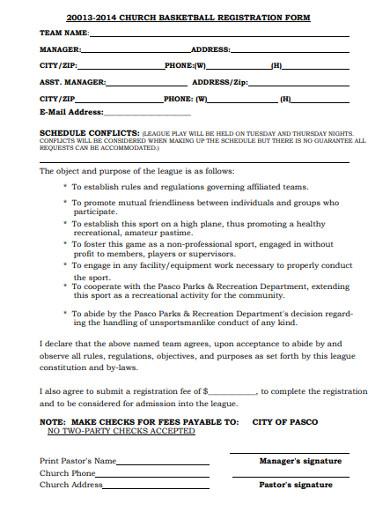 church basketball registration form