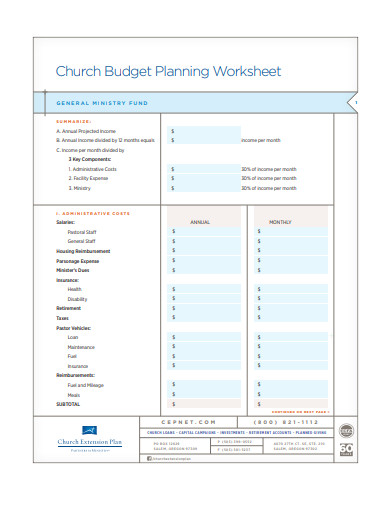 church budget planning worksheet