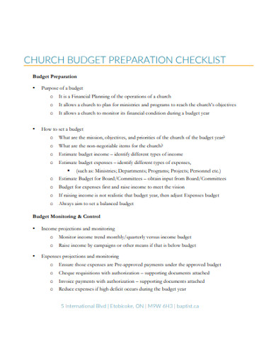 church budget preparation checklist