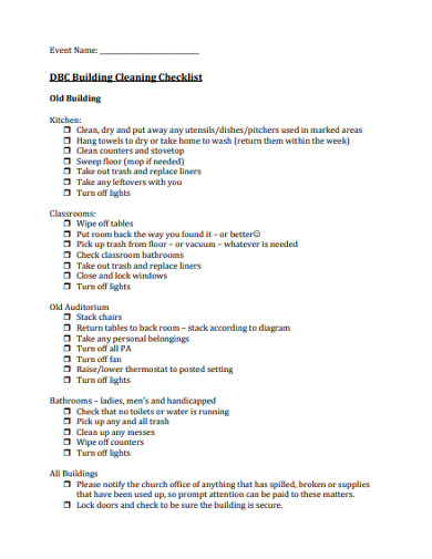 church building cleaning checklist