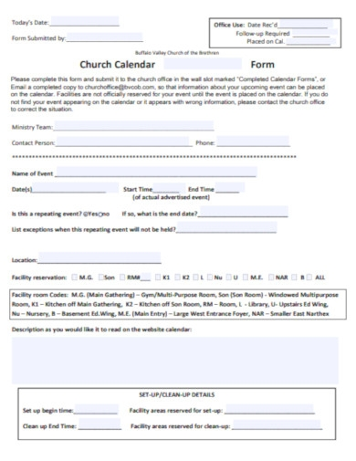 church calendar form