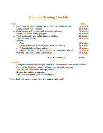 church cleaning checklist in pdf