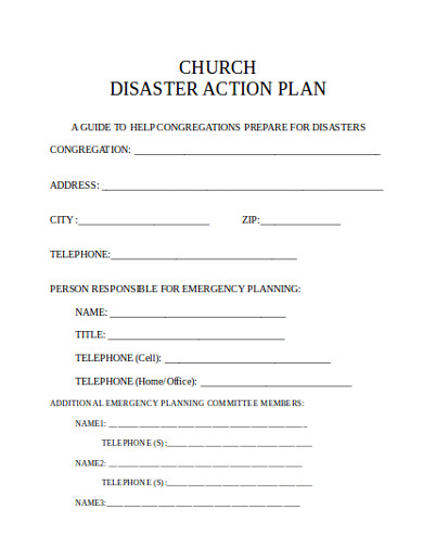 church disaster action plan