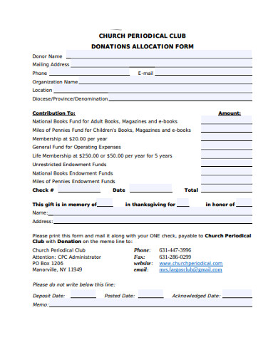 church donation allocation form