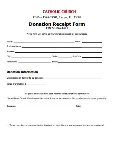 church donation receipt form