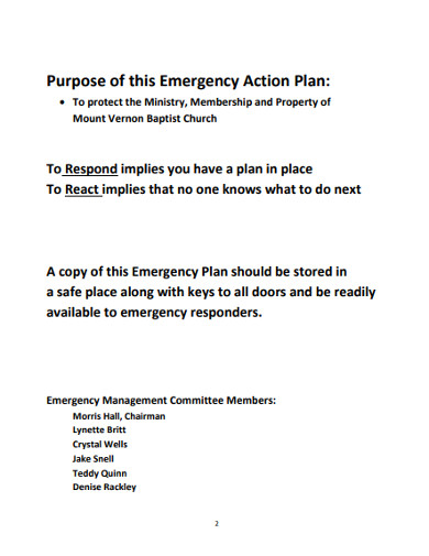 church emergency action plan