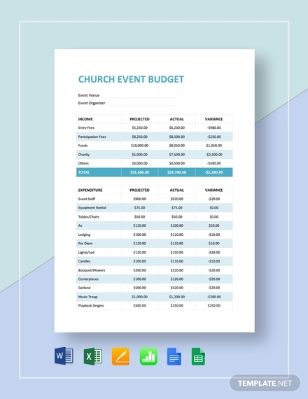 church event budget template