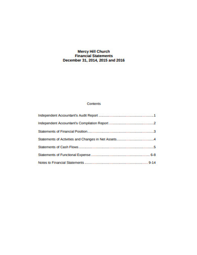 church financial statement in pdf