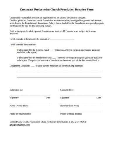 church foundation donation form