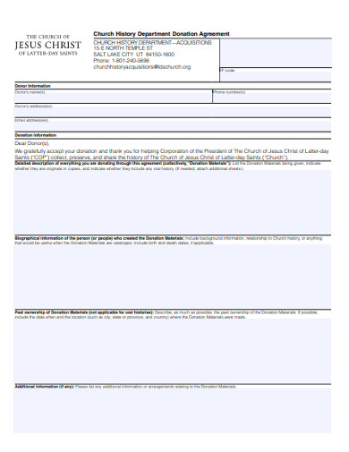 church history department donation agreement form
