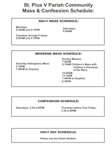 church mass schedule
