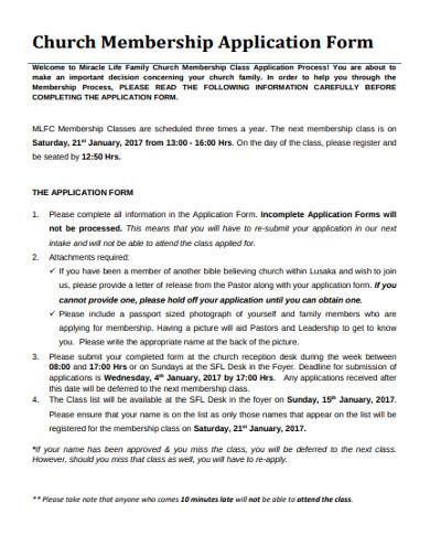 church membership application form