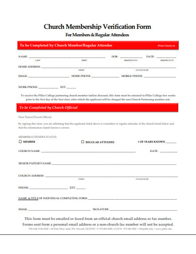 church membership verification form