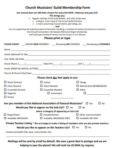 church musicians' guild membership form