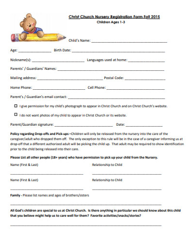 Church Registration Form Examples