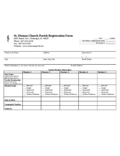 church parish registration form