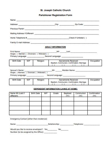 church parishioner registration form