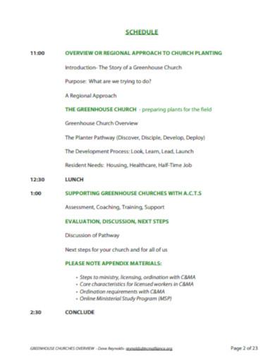 church presentation schedule
