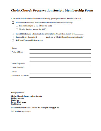 church preservation society membership form