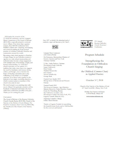 church program schedule