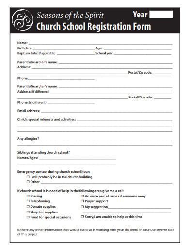 church school registration form