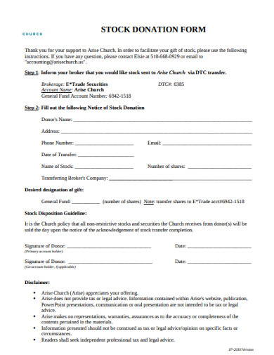 church stock donation form