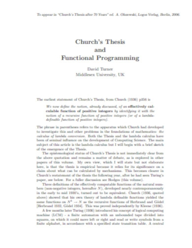 church thesis functional programming
