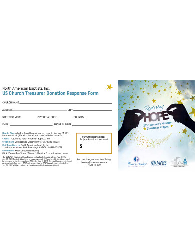 church treasurer donation response form