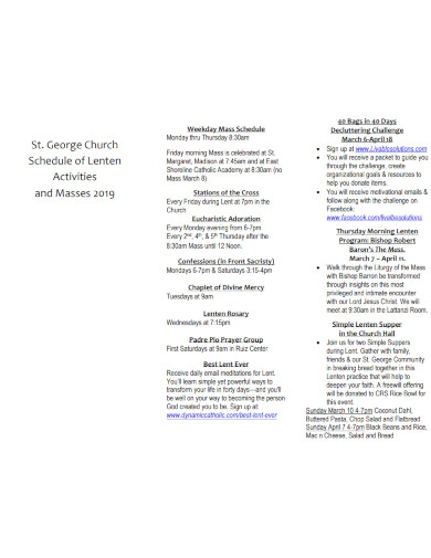church weekend schedule