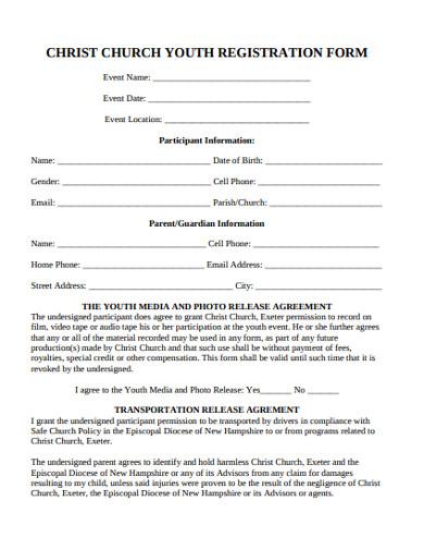 church youth registration form