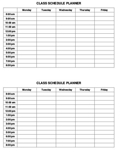 classes schedule planner example
