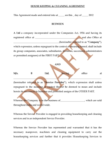cleaning housekeeping agreement contract