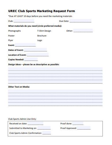 club sports marketing request form