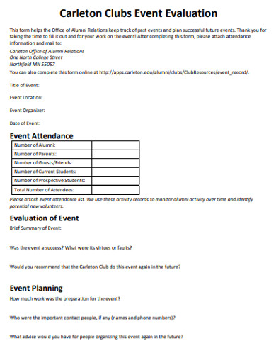 clubs event evaluation