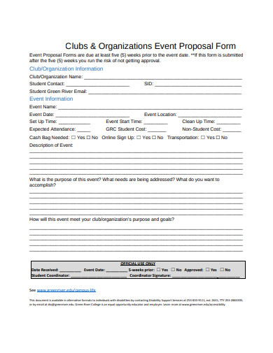 clubs organizations event proposal form