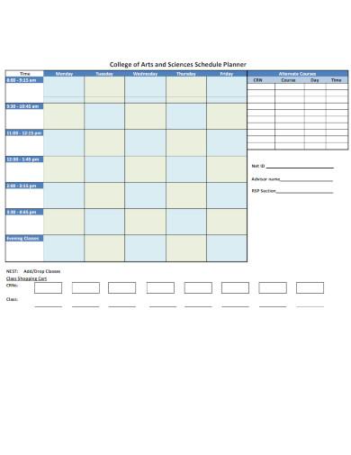 college schedule planner