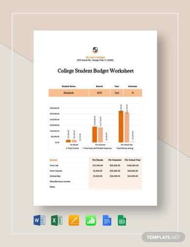 college student budget worksheet template
