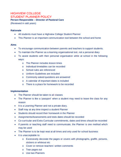 college student planner policy