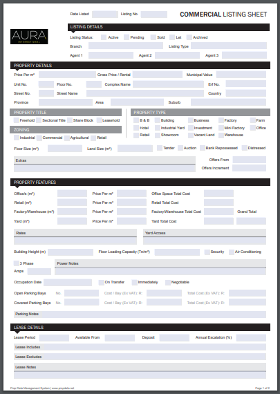 commercial listing sheet