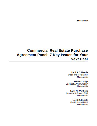 commercial real estate purchase agreements