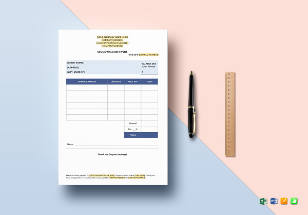 commercial sales invoice templates