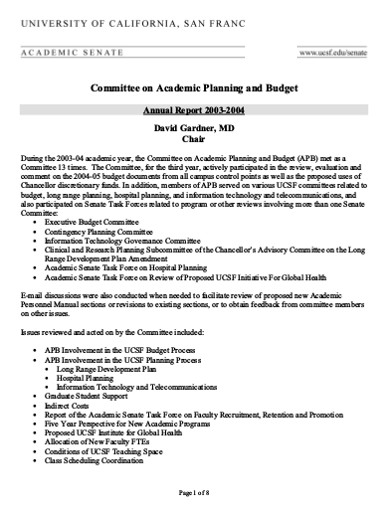 committee on academic planning and budget