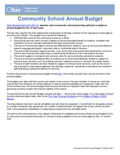community school annual budget