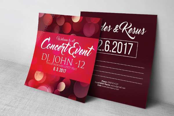 concert event invitaion post card