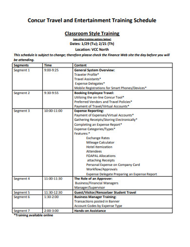 concur travel and entertainment training schedule