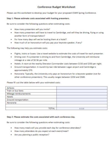 conference budget worksheet